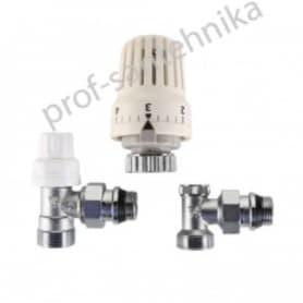 Комплект терморегулирующего оборудования для радиатора угловой с переходом на