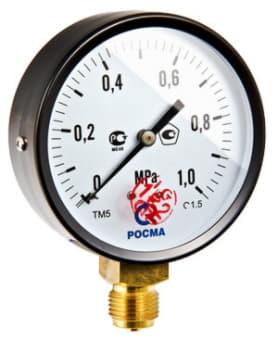 Манометр TM-510P Ду 100 с нижним подключением (150°) 1/2  0-10 бар TM-510P.0410
