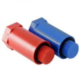 Комплект длинных полипропиленовых пробок с резьбой 1/2 (красная + синяя)